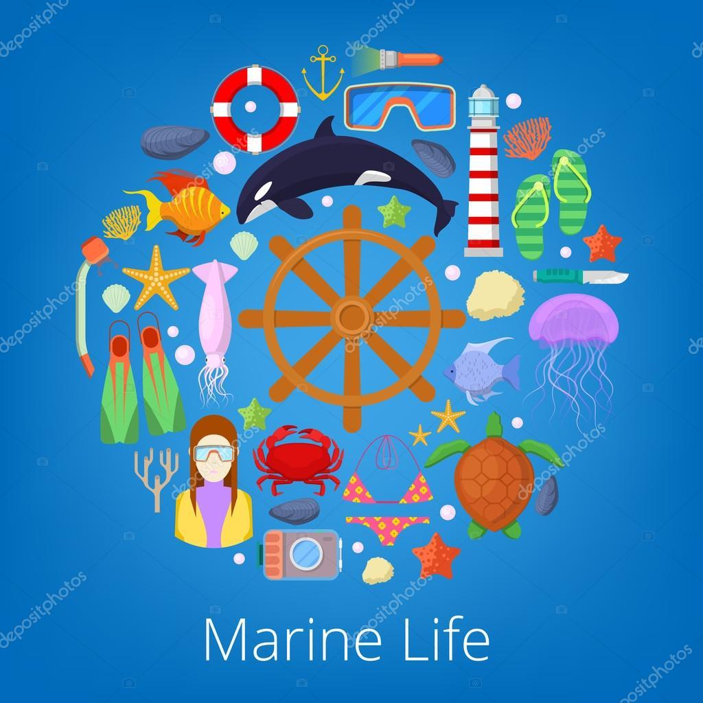 Unterwasserwelt mit Seefisch und nautische Symbole. Vektor ...