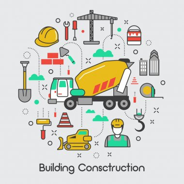 Building Construction Thin Line Art Vector Icons Set with Crane and Tools