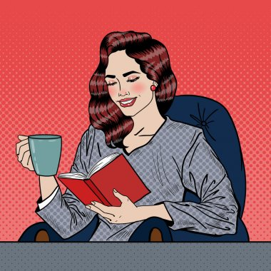 Pretty Young Pop Art Woman Reading Book and Drinking Coffee. Vector illustration