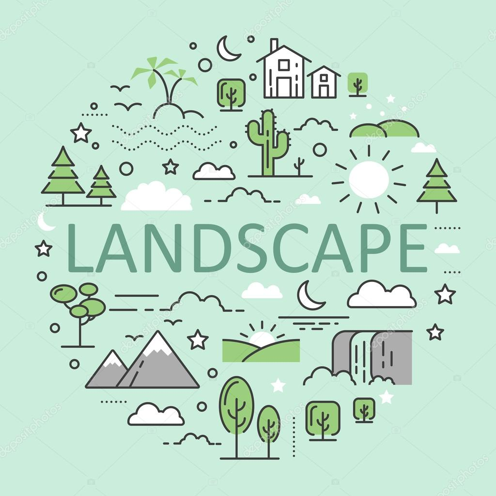 Landscape Nature Line Art Thin Vector Icons Set with Mountains Forest Urban