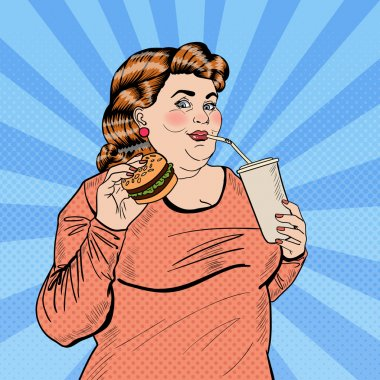 Pop Art Fat Woman Eating Fast Food and Drinking Soda. Vector illustration