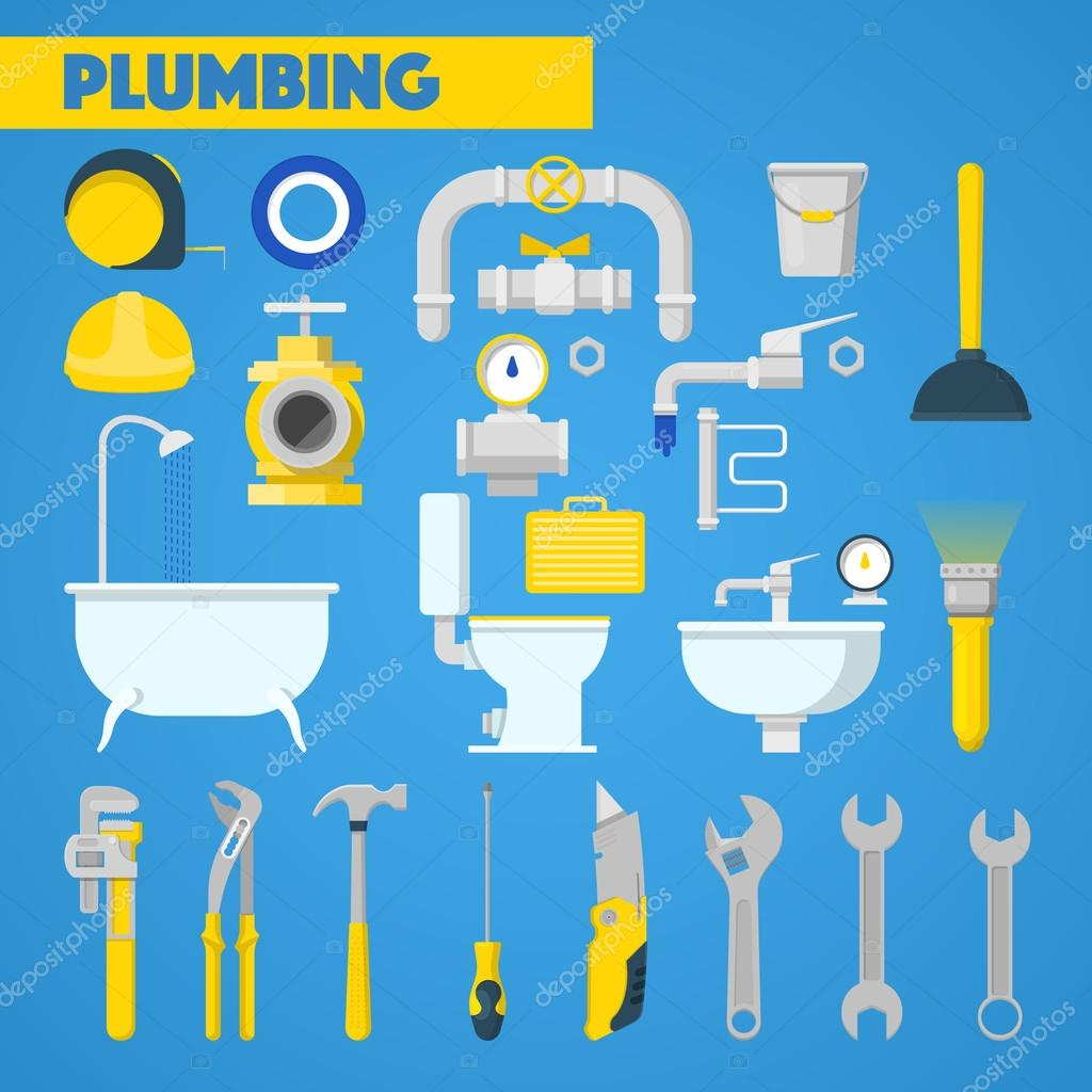 Plumbing tools set and bathroom elements vector icons