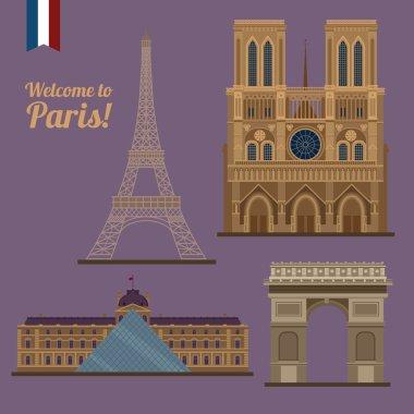 Paris Travel Set. Famous Places - Eiffel Tower, Louvre, Notre Dame