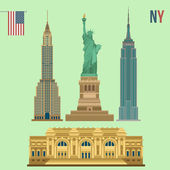 Set of New York Famous Buildings: Statue of Liberty, Metropolitan