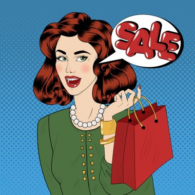 Pop art Style Sale banner. Vintage Girl with Shopping Bags in Comics Style
