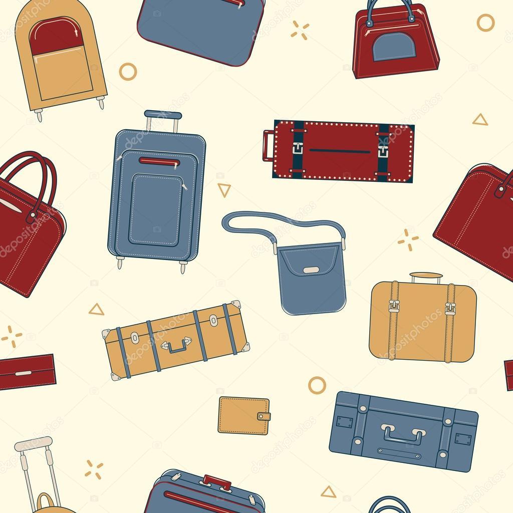 Patrón transparente viaje con equipaje y maletas — Archivo Imágenes ...