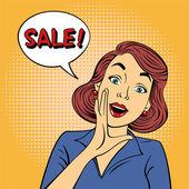 Fotografie Pop-Art Style Sale Banner. Jahrgang Mädchen Shouts Verkauf im Comic-Stil