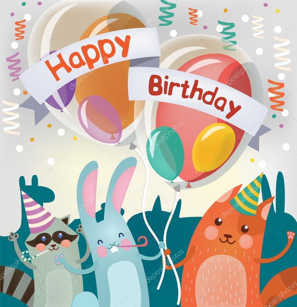 Cartolina D Auguri Di Buon Compleanno Con Gli Animali Svegli Per