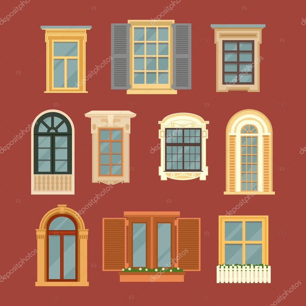 Insieme di finestre d 39 epoca vettoriali stock vectorlab - Finestre d epoca ...