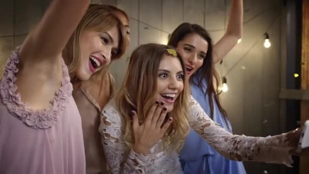 cheerful girls making selfie