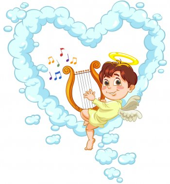 Vector illustration of a little baby Angel playfully sitting on a cloud in the shape of heart , playing music on the lyre clip art vector