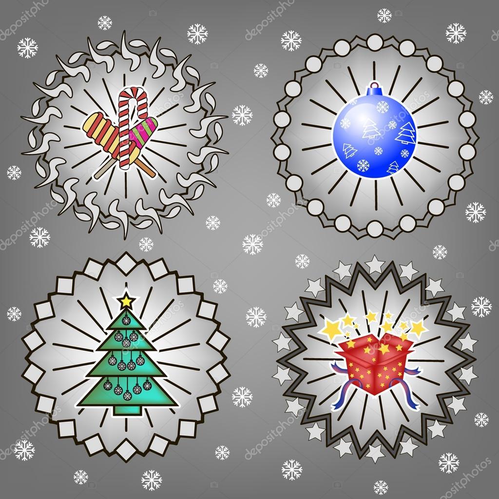 Weihnachtsbaum, Süßigkeiten, Geschenke und Silvester ball ...
