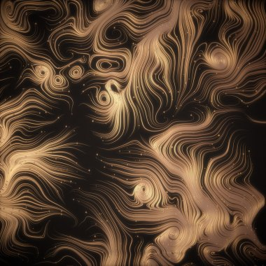 Abstract 3d rendering gold shiny strands