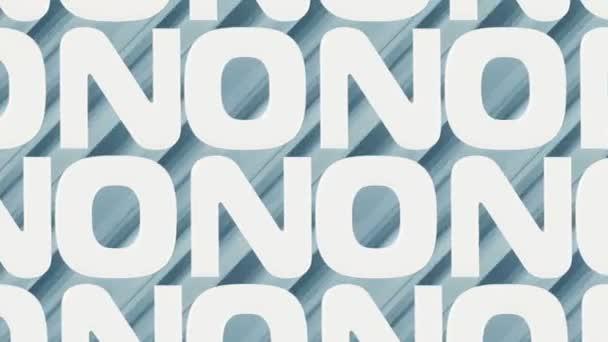 Bewegende Textur von Wörtern NEIN. 3D-Rendering digitale nahtlose Schleifenanimation HD