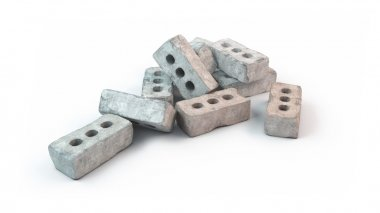 Stack of old bricks isolated on white background