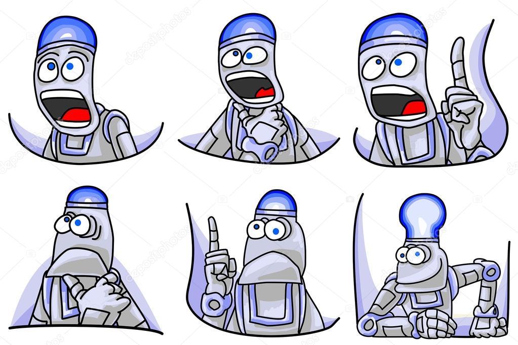 Roboter-Zeichentrickfigur mit beleuchteten Top Kopf-Ausdruck gesetzt ...