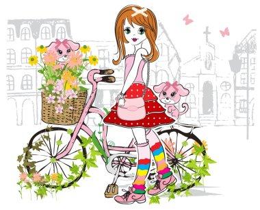 Cute girl with bike stock vector