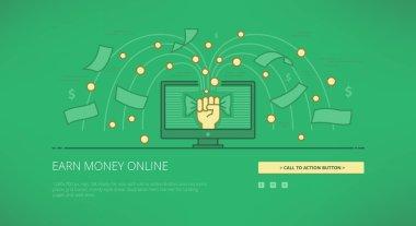 Earn money online linear web illustration
