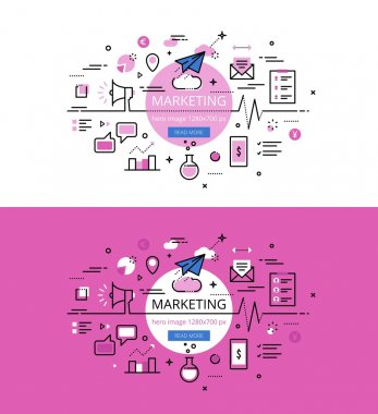 Marketing. Flat line color hero images and hero banners design c