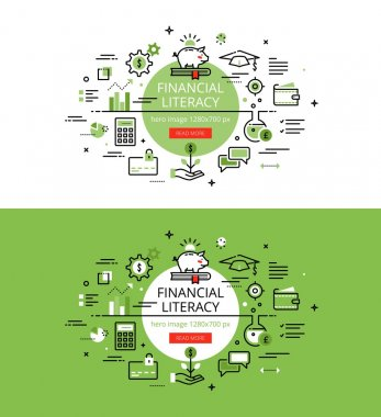 Financial Literacy. Flat line color hero images and hero banners