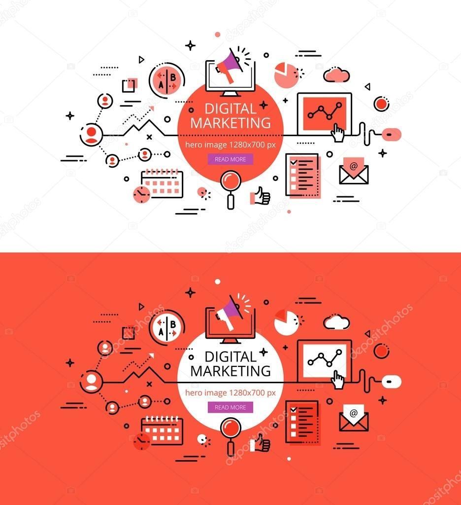 Digital Marketing. Flat line color hero images and hero banners