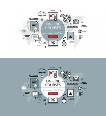 On-line courses. Flat line color hero images and hero banners de