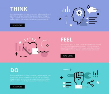 Think. Feel. Do. Web banners vector set