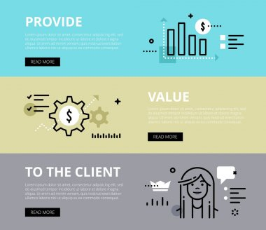 Provide Value To the client. Web banners vector set