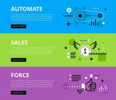 Automate Salesforce. Web banners vector set