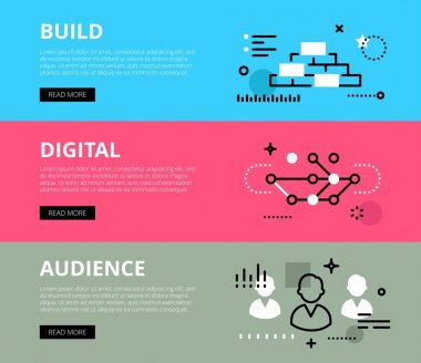 Build Digital Audience. Web banners vector set