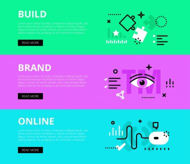 Build Brand Online. Web banners vector set