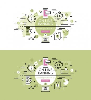 On-line banking. Flat line color hero images and hero banners de