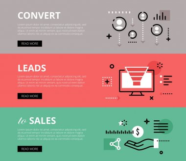 Convert Leads to Sales. Web banners vector set