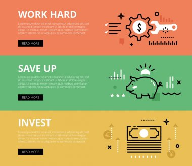 Work hard. Save up. Invest. Web banners vector set