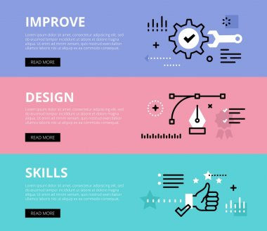 Improve Design Skills. Web banners vector set