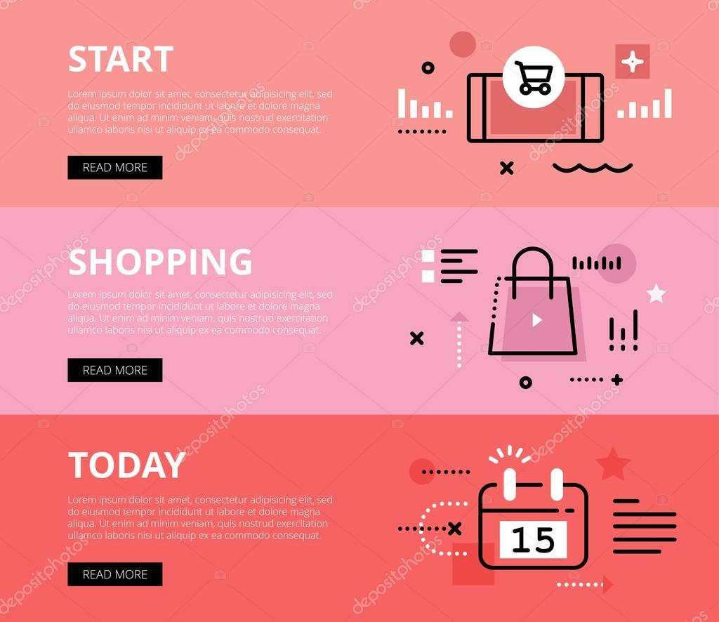 Start Shopping Today. Web banners vector set
