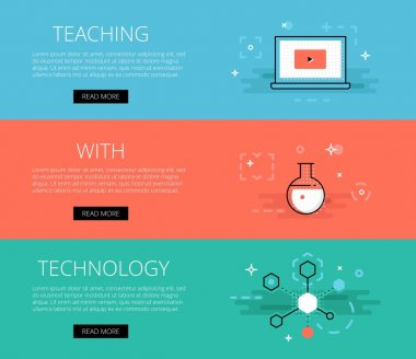 Teaching With Technology. Vector banners set