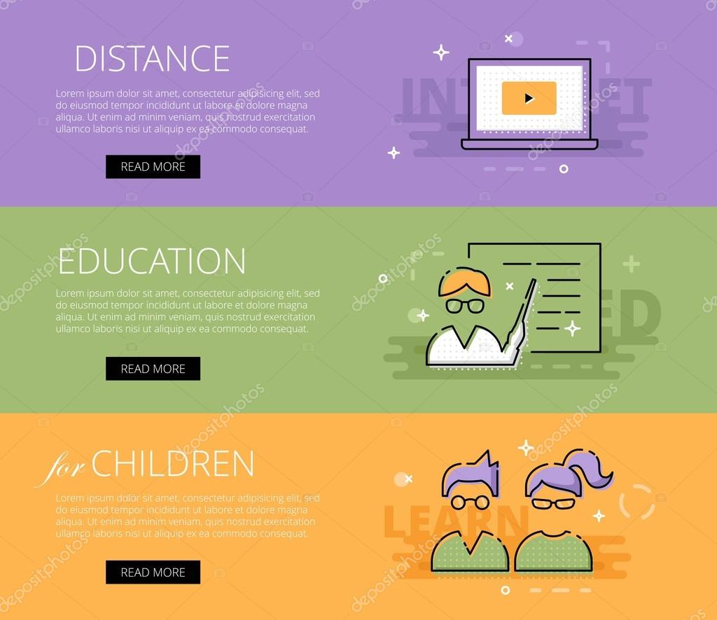 Distance Education for Children  Vector banners template set — Stock