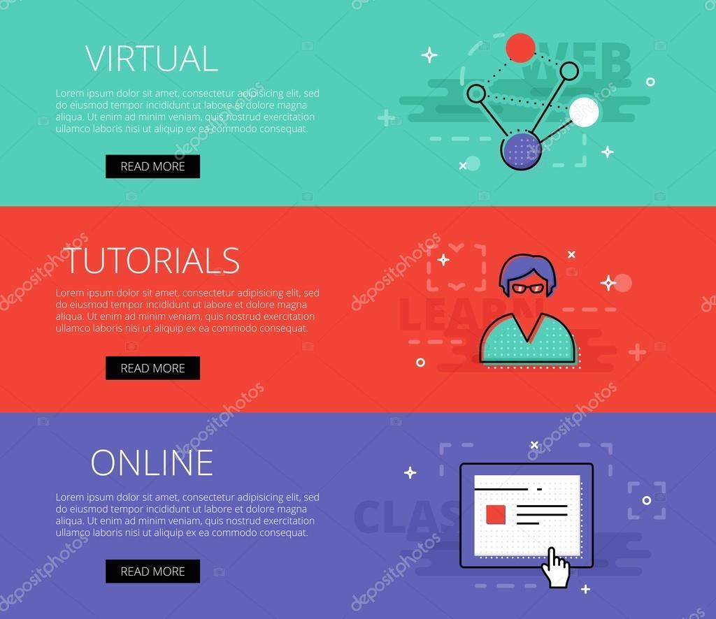 Virtuales tutoriales en línea. Vector conjunto de plantillas de ...