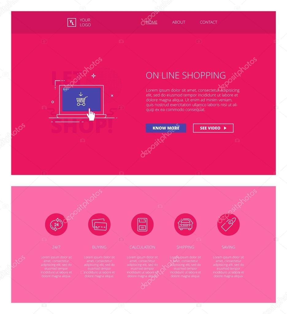 Plantilla de diseño vectores compras en línea para sitios web y ...