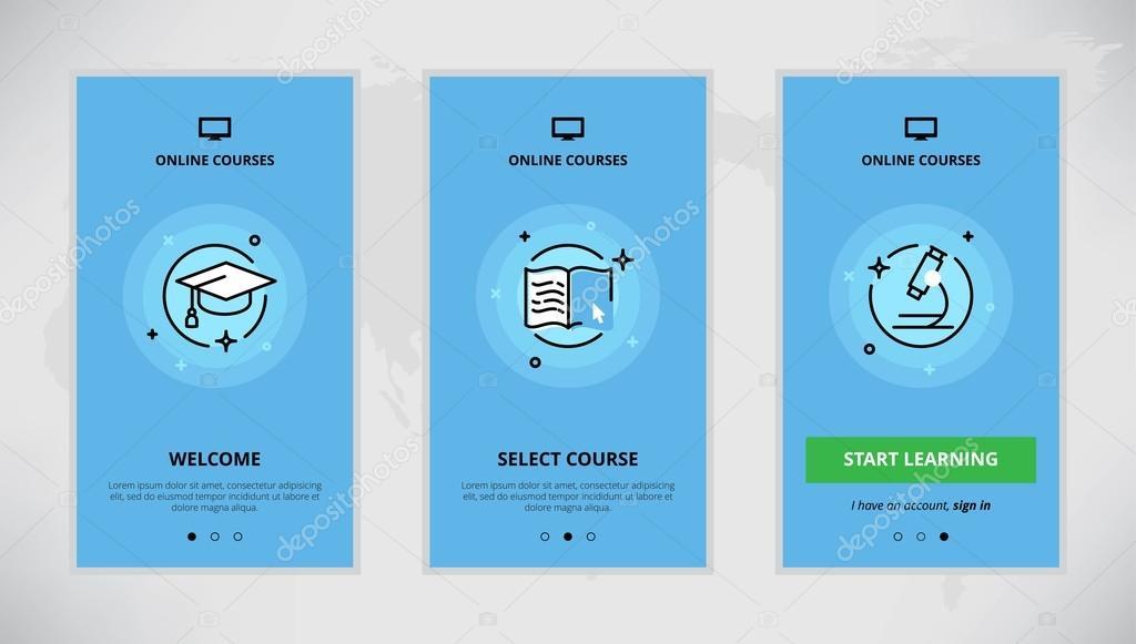 Onboarding design concept for online courses — Stock Vector © super