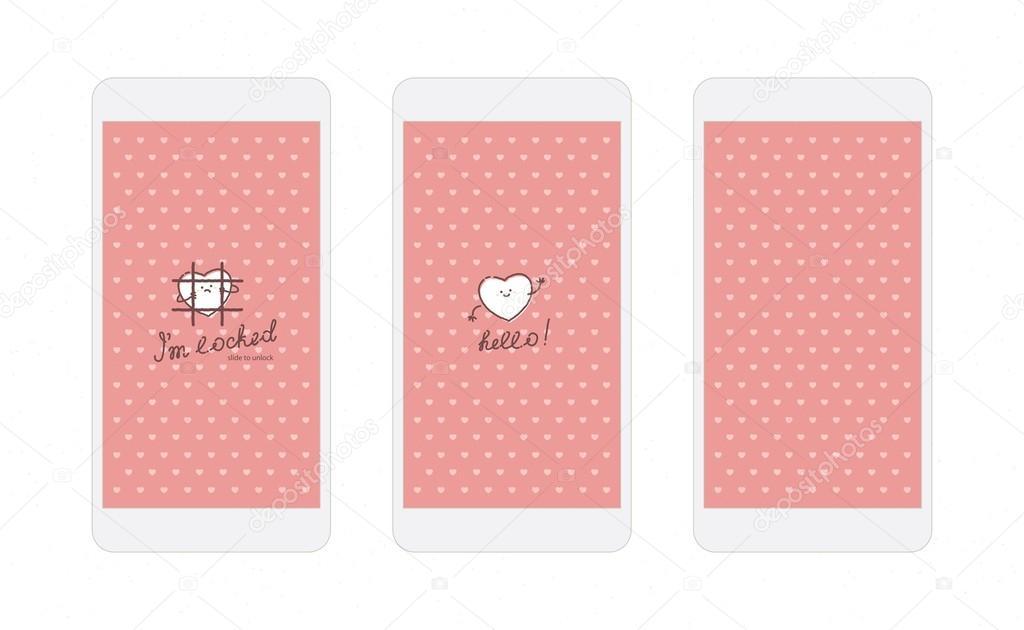 Schermo Di Carta Da Parati E Blocco Iphone Cuori Rosa Foto Stock