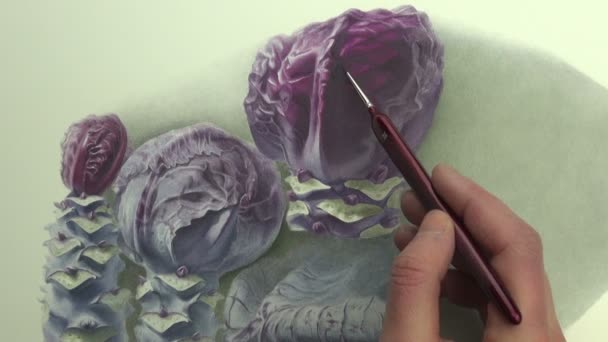Painting violet cabbage composition in watercolor