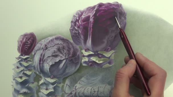 Painting a study of violet cabbages