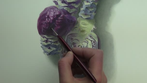 Painting a study of violet cabbages with stems