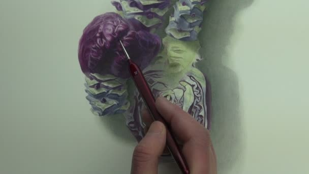 Brushstrokes on violet cabbage painting
