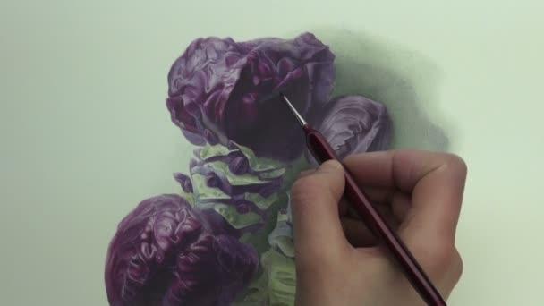 Pinselstriche auf Violet Kohlkopf mit Stielen, Malerei