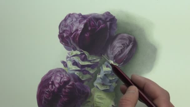Brushstrokes on violet cabbage with blue stems painting