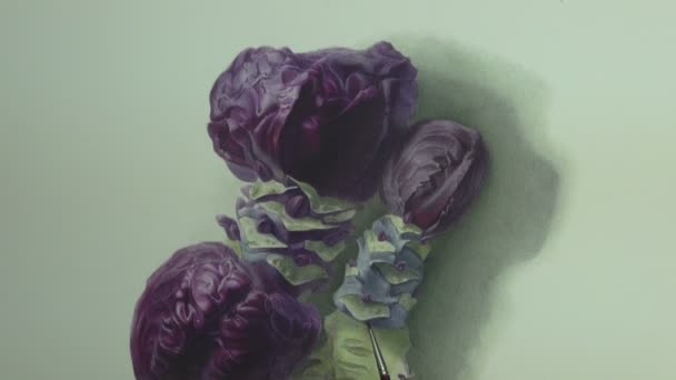 Brushstrokes on violet and blue cabbage painting