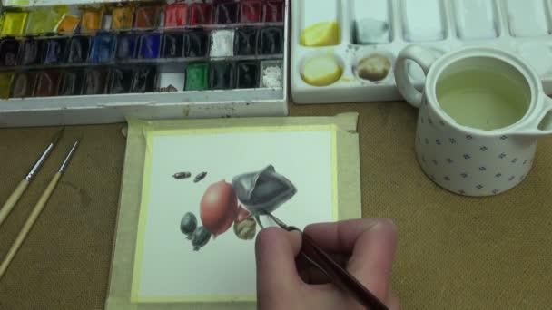 Gemälde einer tropischen Komposition von Obst